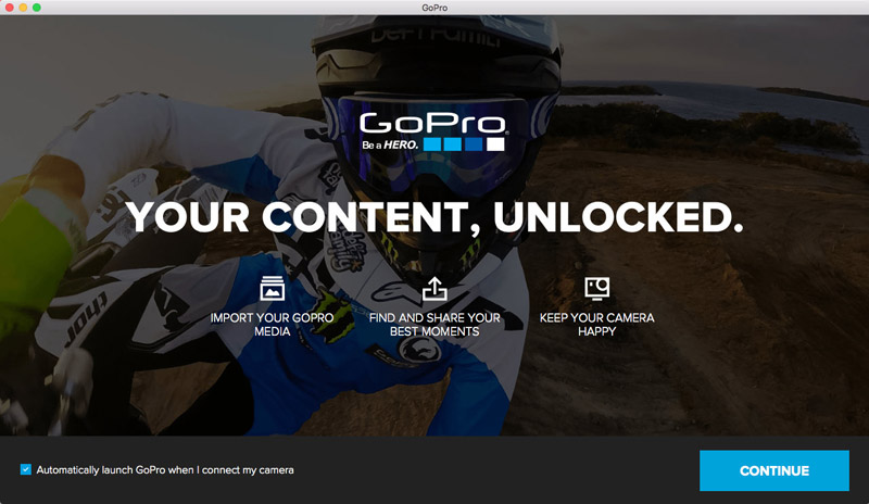 GoPro App for Desktopの起動画面