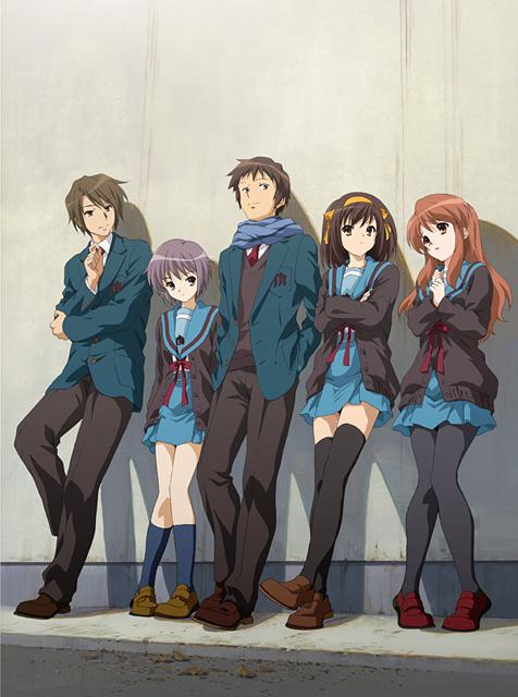SOS団のメンバー。左から古泉一樹、長門有希、キョン、涼宮ハルヒ、朝比奈... SOS団のメンバ